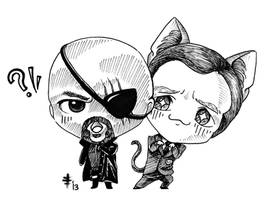 Tomodachi Fest Commission 6 - Fury and Coulson by AnimeGirlMika