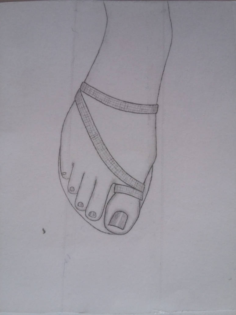 Upper Feet With Sandals By Tukan Drawings On Deviantart