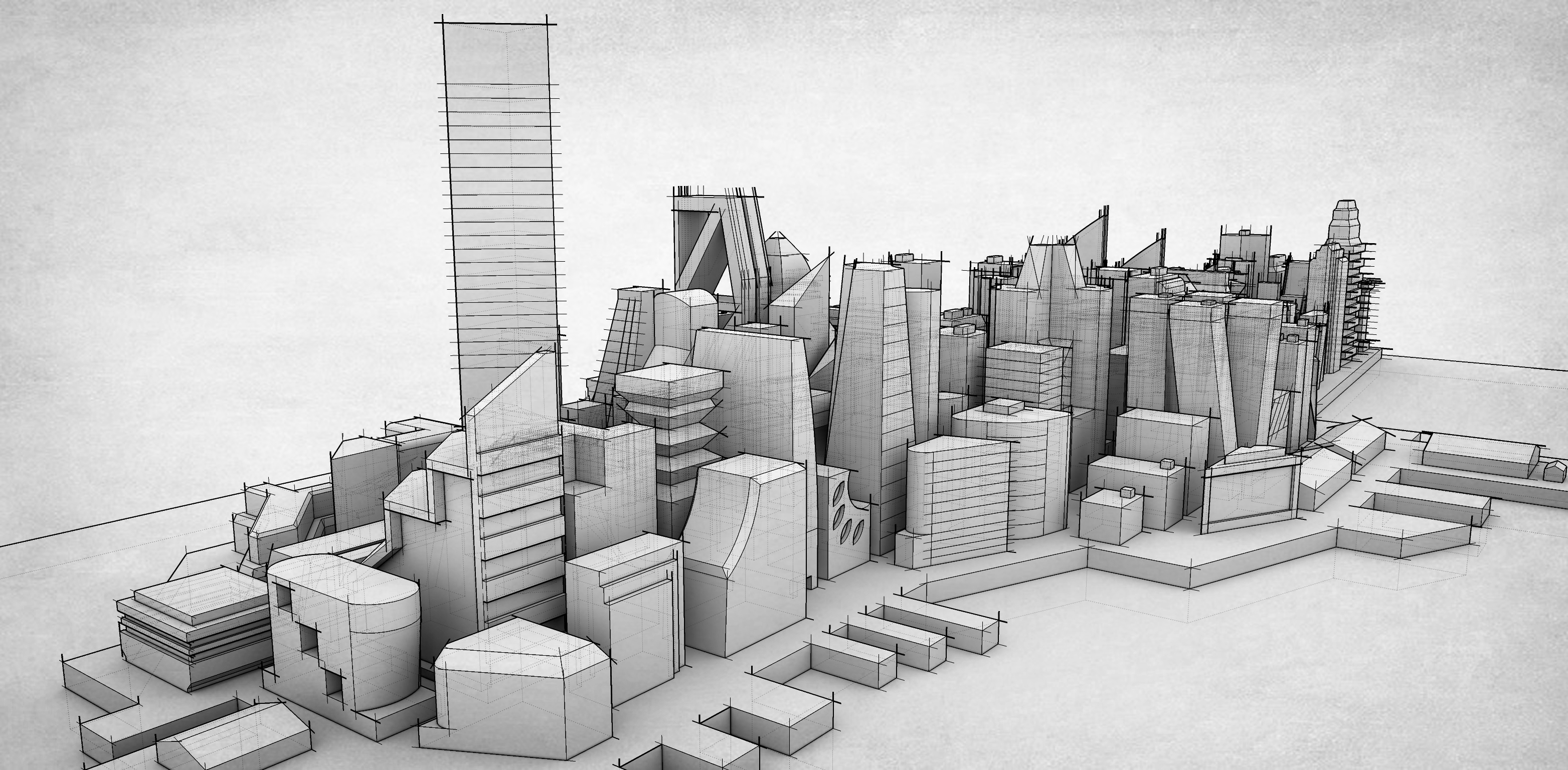 Mirrors Edge City in Sketchup