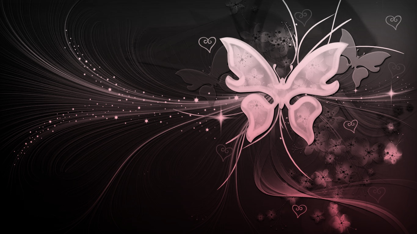 Black And White Pink Butterfly With Hearts By Missliss40
