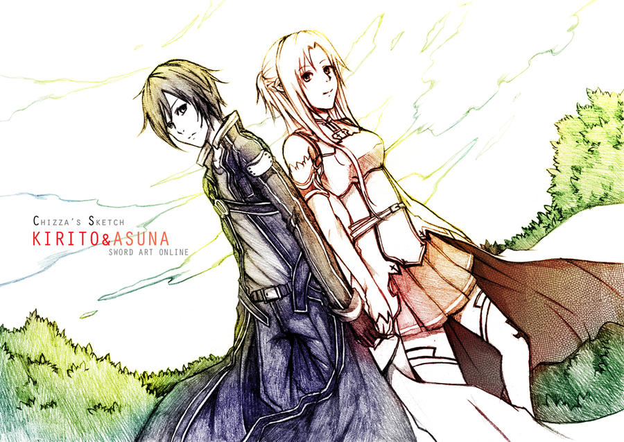 SAO - Kirito and Asuna Sketch by Chizzachan