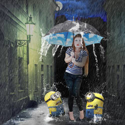 minions with their babysister by alain-jean