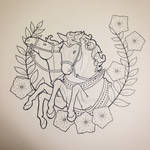 Chariot horses outline