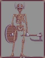 Skeleton warrior Pixelart by SaintBonkers