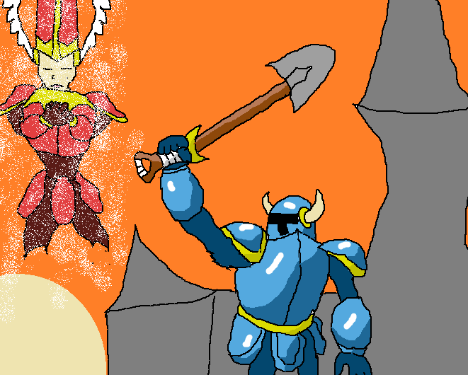 Shovel Knight remembering Shield Knight by Omega88x