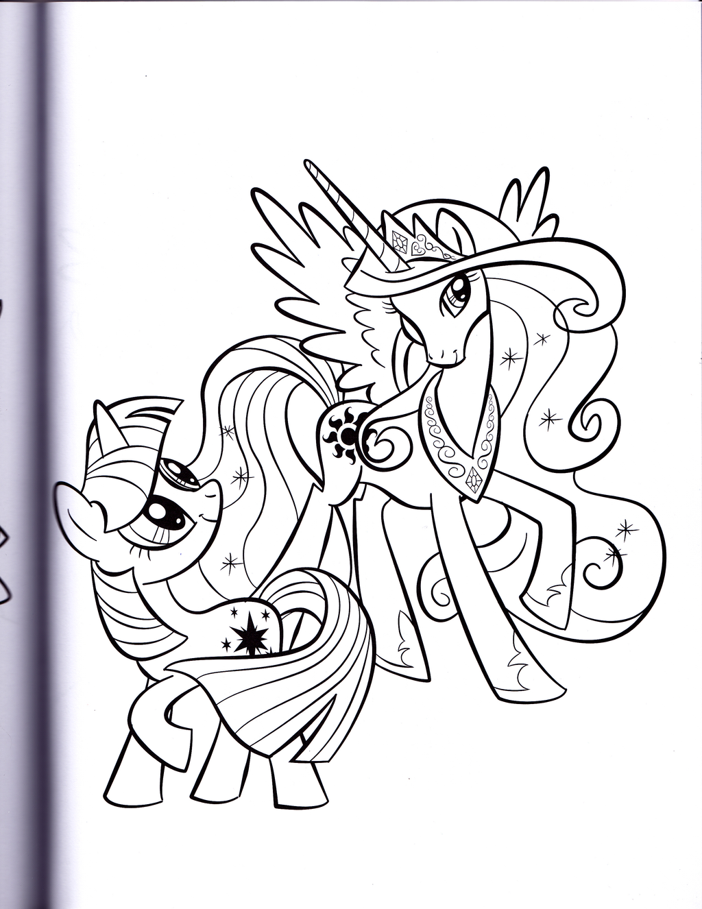 Twilight and Princess Celestia MLP Coloring book by kwark85 on
