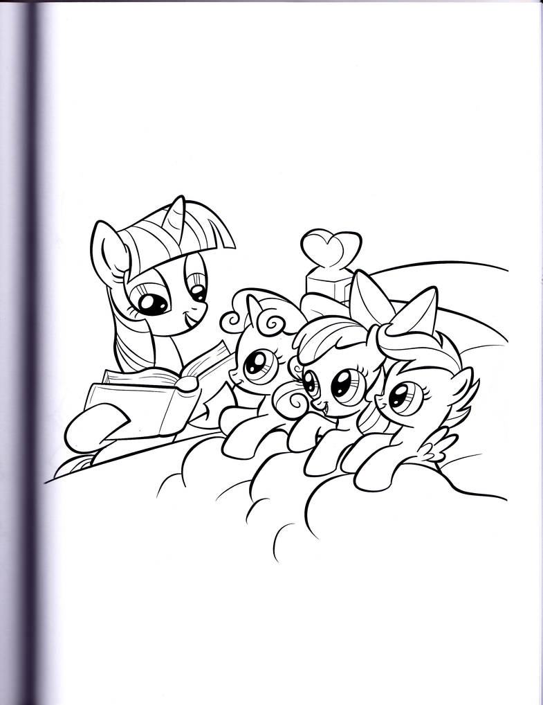 Twilight reading to the CMC (MLP Coloring Book) by kwark85 on DeviantArt
