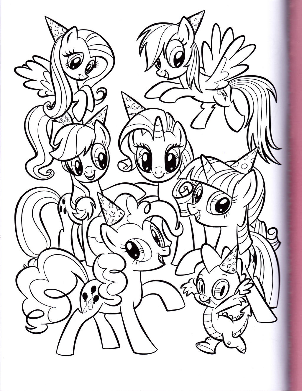 Mane 6 coloring pages -  Mane 6 And Spike Party Mlp Coloring Book By Kwark85