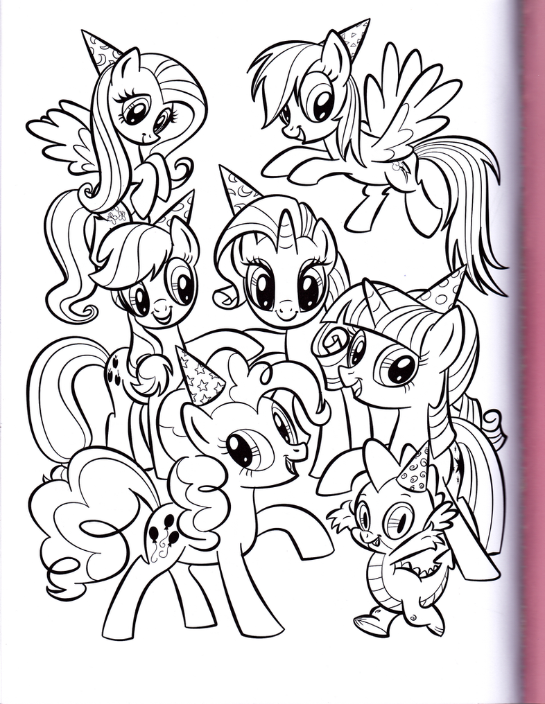 Mane 6 and Spike party (MLP Coloring Book) by kwark85 on DeviantArt