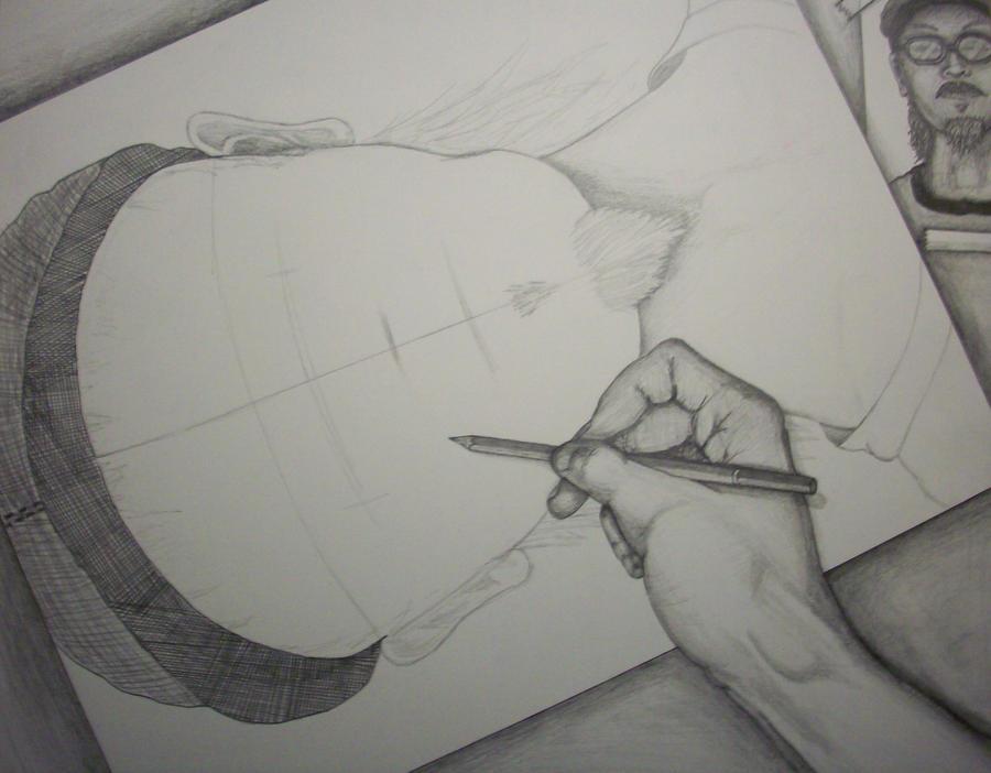 Myself, Drawing Myself by HecklerInk-Designs