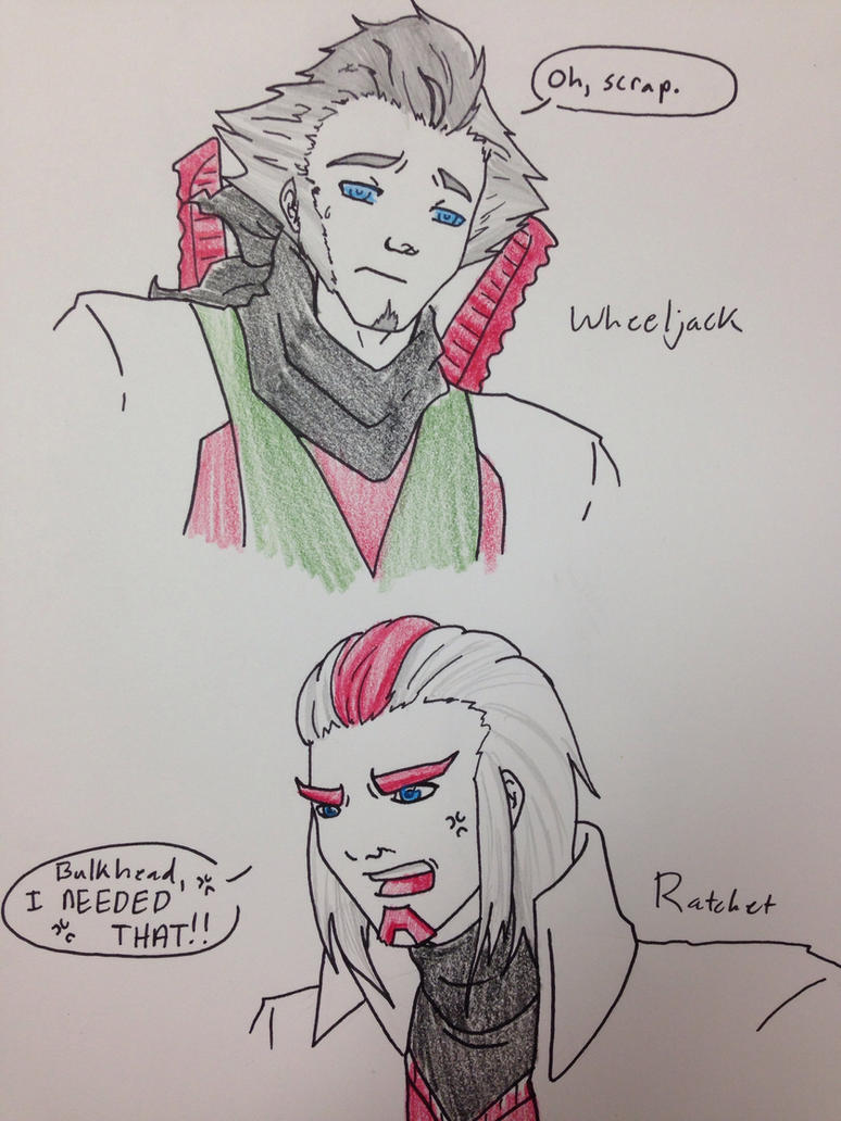 TFP - Ratchet and Wheeljack (human) by OokamiWarrior1234
