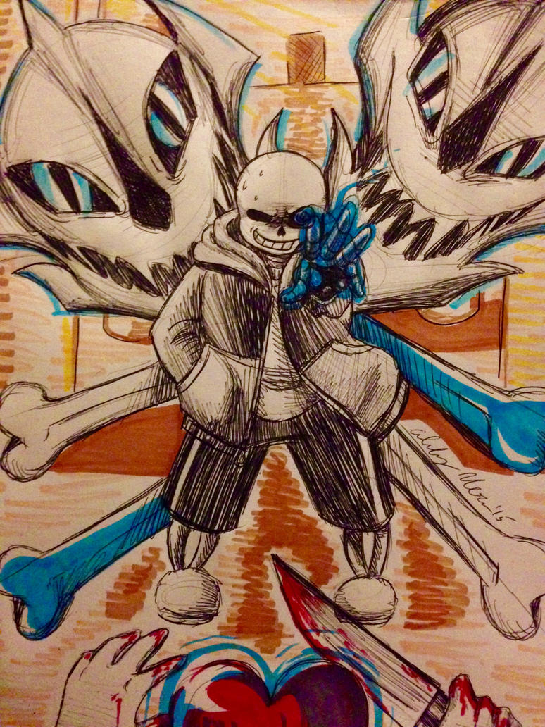 Undertale: Megalovania - Pen Sketch by OokamiWarrior1234