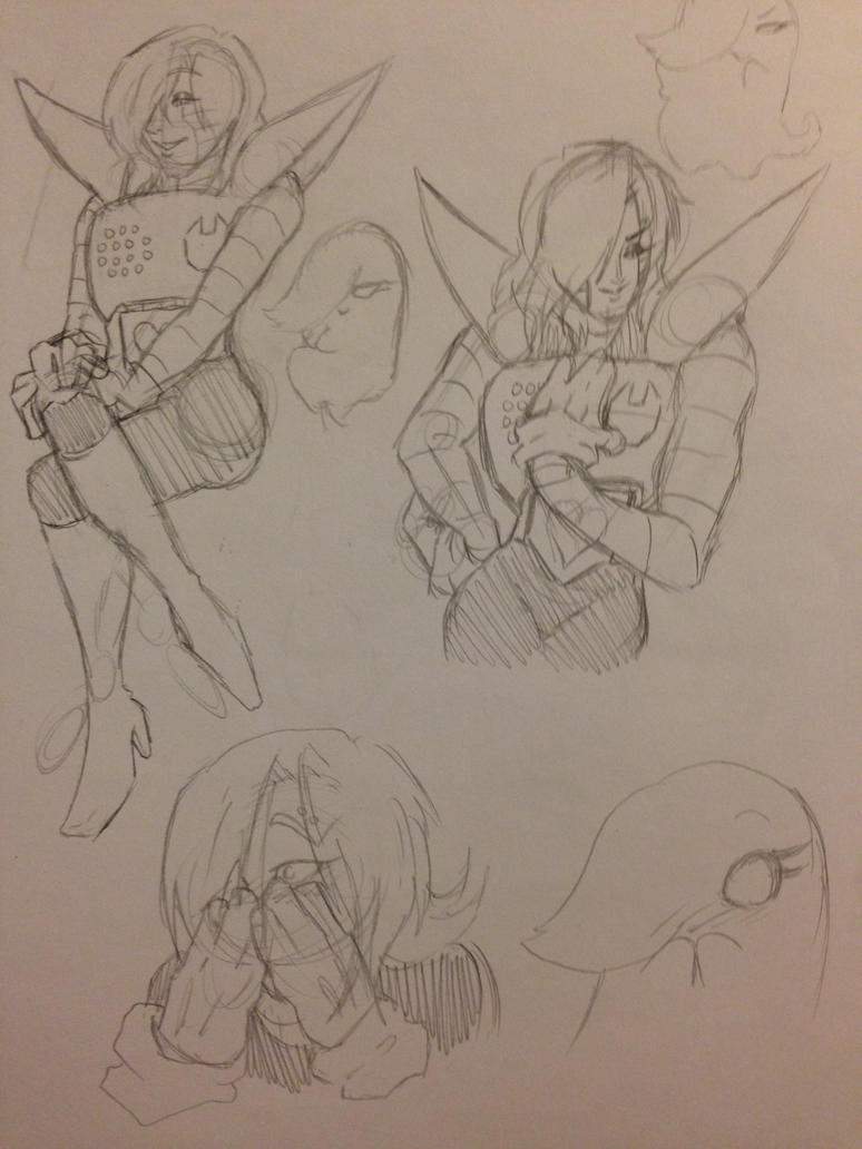 Mettaton Sketches 2 by OokamiWarrior1234