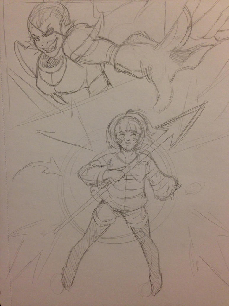 Undertale: Undyne Fight (sketch) by OokamiWarrior1234