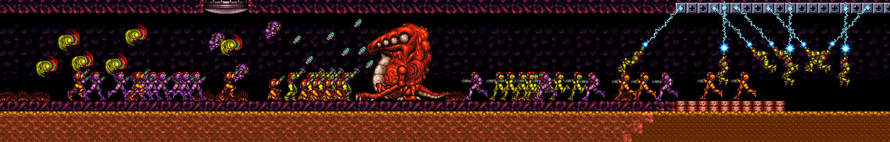 Super Metroid but with many Samus's at once