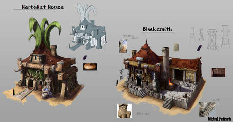 Herbalist and Blacksmith houses by Narog-art