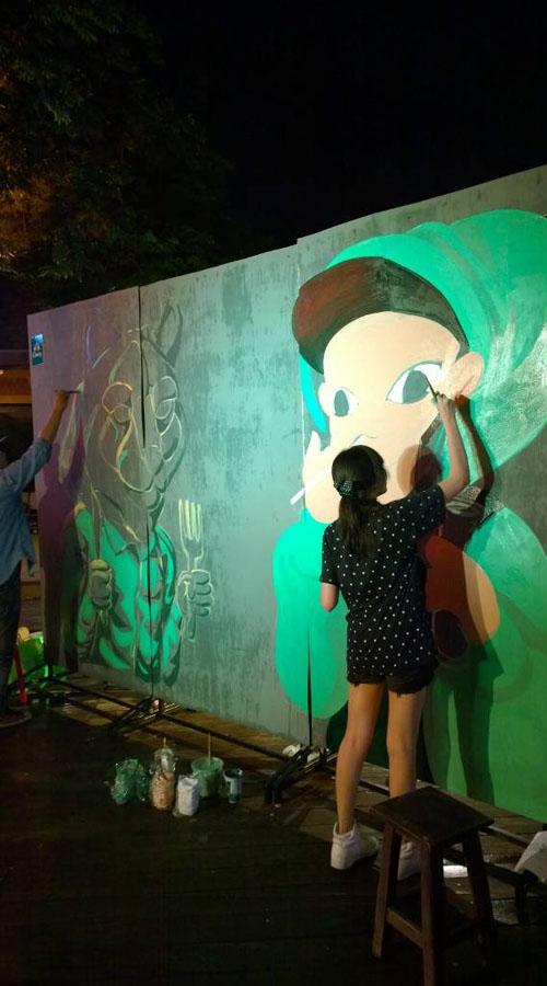 Street Art Night @Warmup Cafe ,Thailand. by Annatarhouse