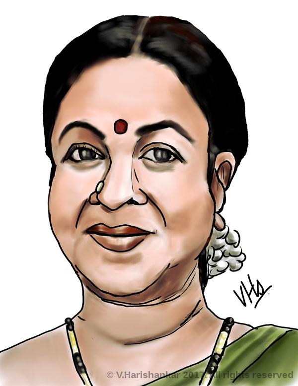 Portrait caricature of Radhikaa Sarathkumar by vharishankar