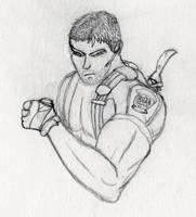 Chris Redfield card doodle by Maverick-Werewolf