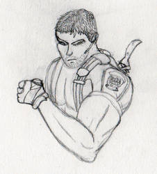 Chris Redfield card doodle by Maverick-Werewolf