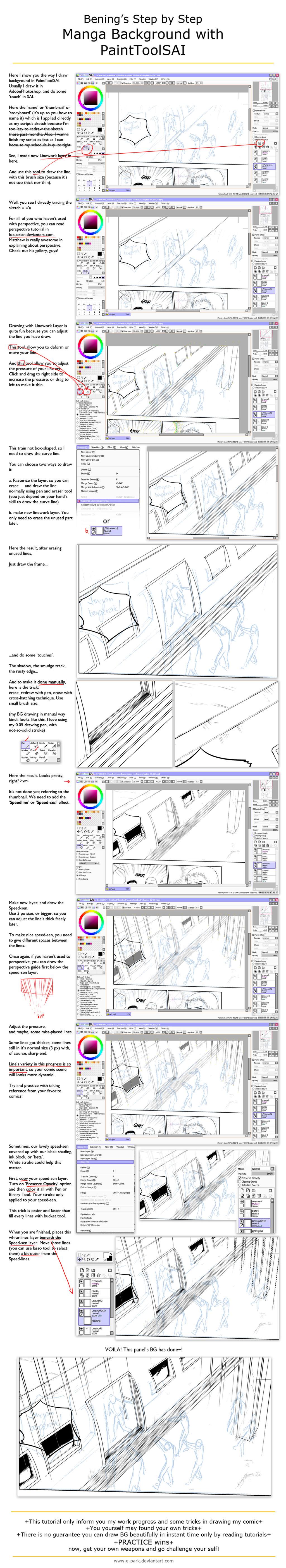 Drawing Manga Background with SAI by E-park