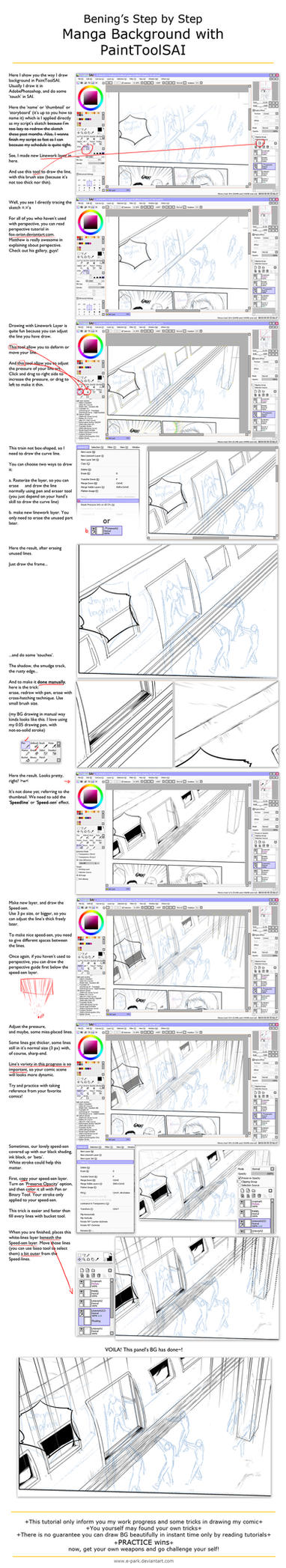 Drawing Manga Background with SAI by E-park