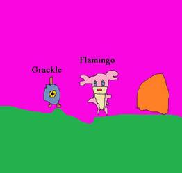 Grackle and Flamingo