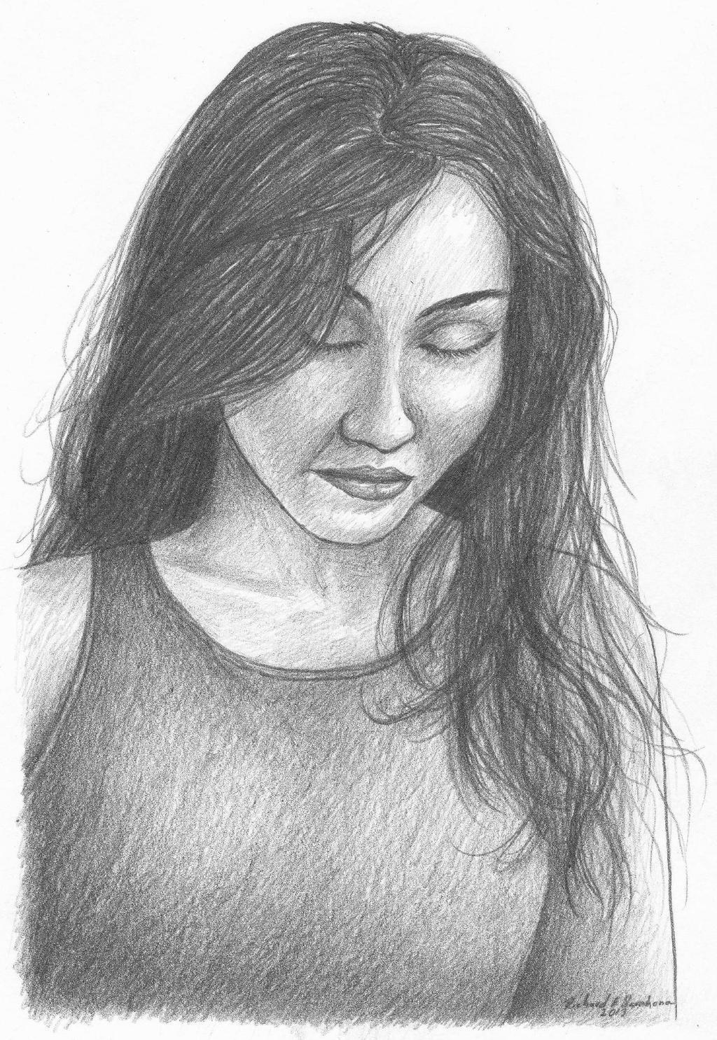 Sad girl sketch by RichardEBarahona on DeviantArt