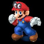 SSB4 Mario render with Super Mario Odyssey cap