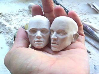 ooak porcelain bjd heads WIP by fernandoartesano