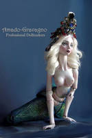 The Turquoise Mermaid Queen porcelain bjd by fernandoartesano