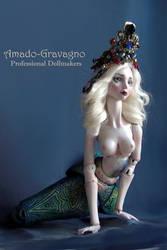 The Turquoise Mermaid Queen porcelain bjd by fernandoartesano