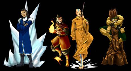 Four Bending Teachers II color by Erikonil