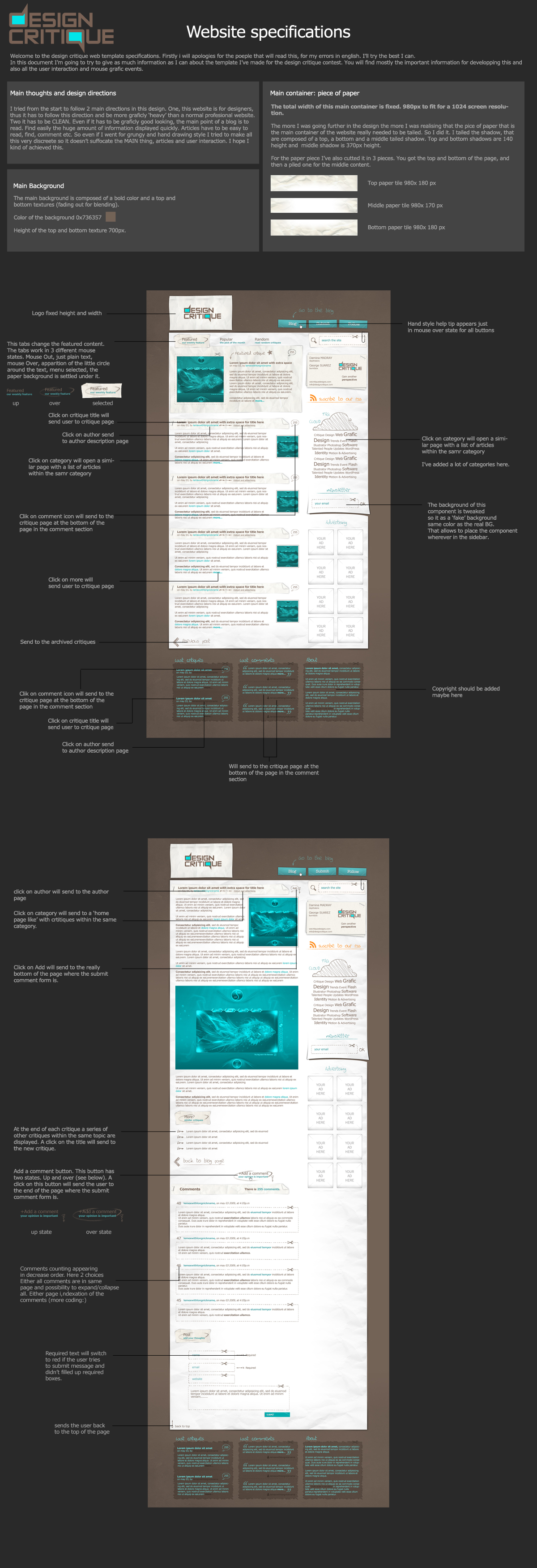 design critique specifications by LeMex