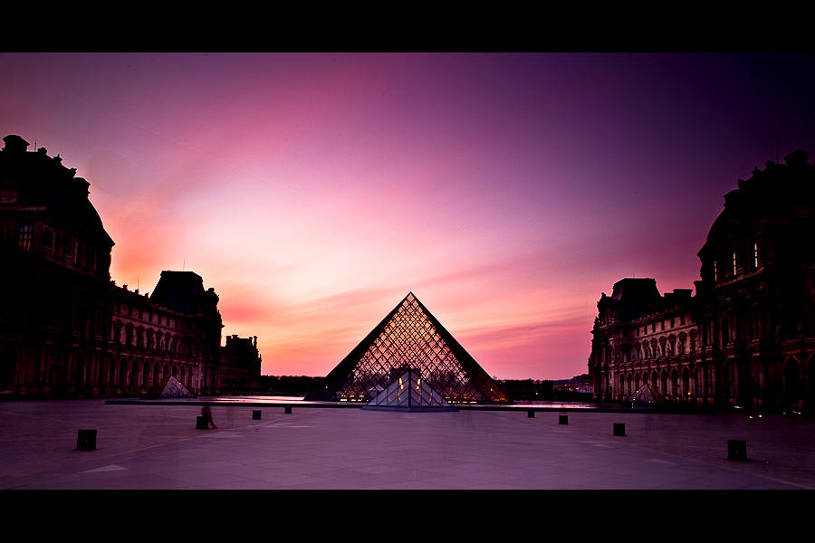 sunset on the louvre
