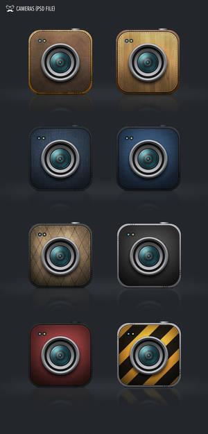 cameras icons free psd file