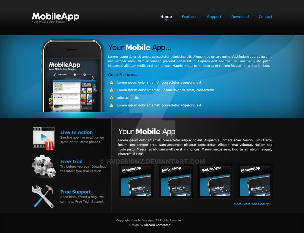 Mobile app web layout by hvdesignz on deviantart for App layout design software