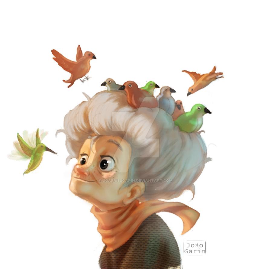 Granny with Birdies by jgabrielgarin
