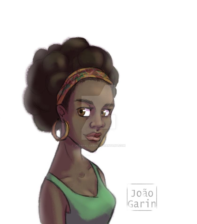 Afro Cartoon Girl by jgabrielgarin