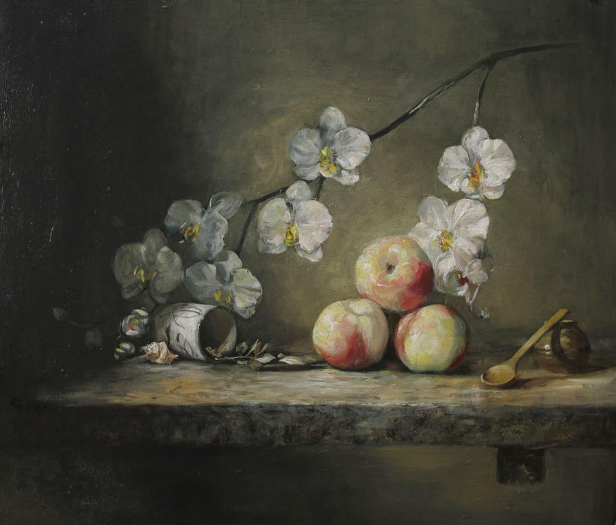 Mrtva priroda Still_life__peaches_and_orchid_by_vanbay-d30j17p
