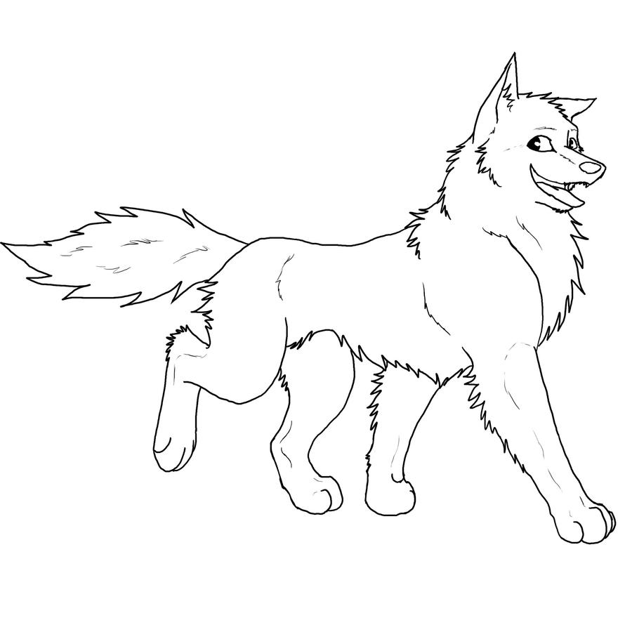 Simple Wolf Lineart : Simple lineart example by pandamarium on deviantart