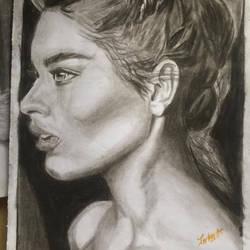 Woman charcoal portrait drawing 2017 ii