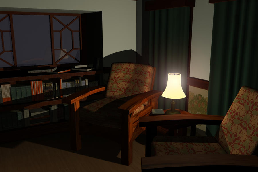 3D Vintage Room - nighttime by MichaelLinkJr