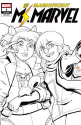 Ms Marvel and Squirrel Girl selfie sketch cover