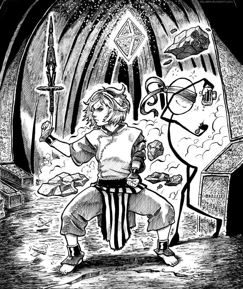Inktober 17: Blindly Swinging by Reuxben
