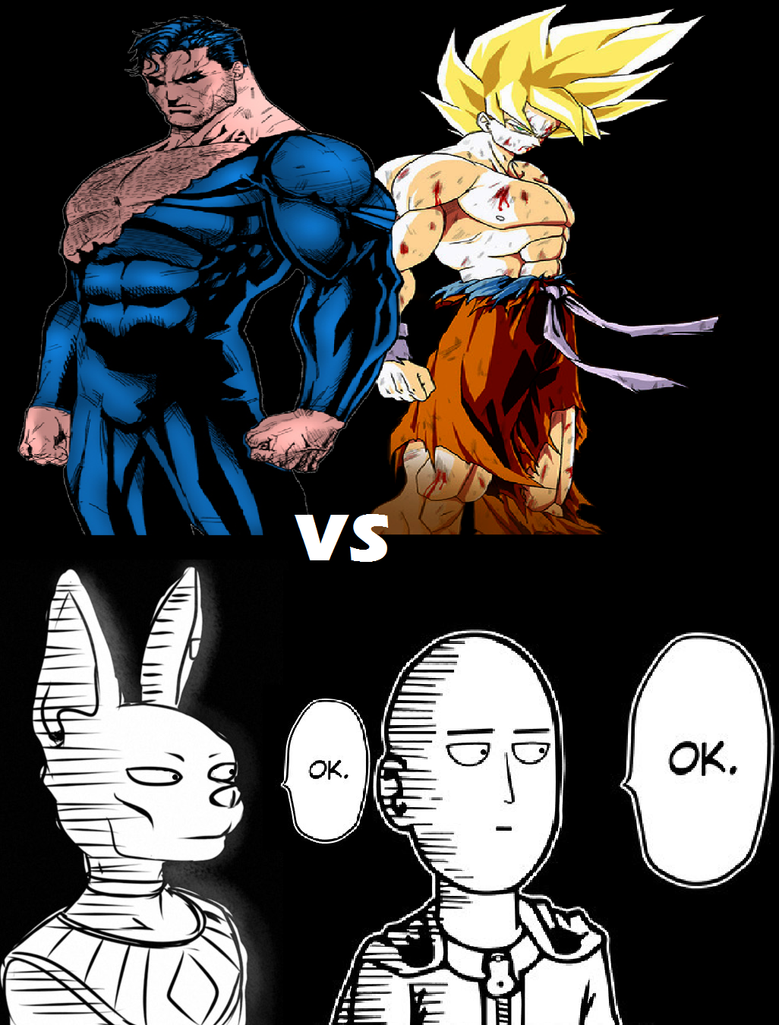 Superman And Goku Vs Lord Beerus Saitama By Regnoart