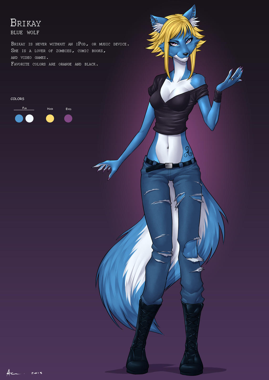Brikay wolf female by playfurry
