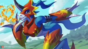 Flamedramon by playfurry