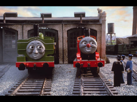 Duck and James at Tidmouth sheds