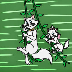 Duchess and Marie both swings on jungle vines